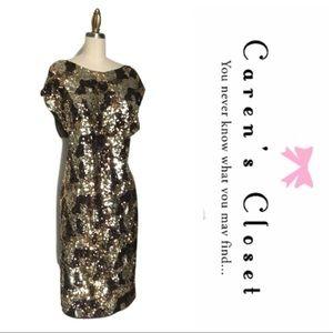 NWT MNG Gold Metallic Sequin Leopard Dress
